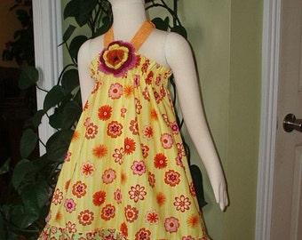 Crochet Flower  Toddler Dress Size 5 / 6