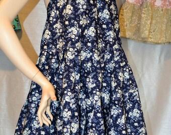 Blue White Hippie Halter Dress