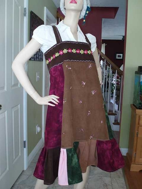 HIPPIE PATCHWORK EMBROIDERY CORDUROY OVERALL SKIRT OR DRESS SALE