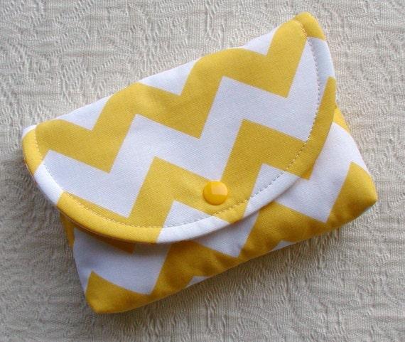 Large Snap Pouch ...Chevron in Yellow