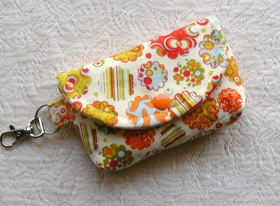 Small Snap Pouch w/ Key Clasp ...Picnic Parade in Orange