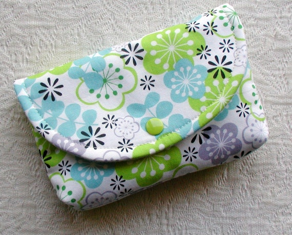 Large Snap Pouch ...Mod Floral in Lime and Aqua