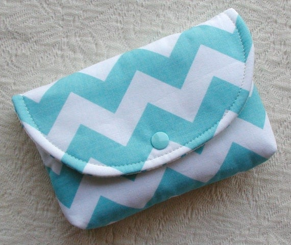 Large Snap Pouch ...Chevron in Aqua