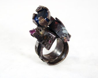 Blue  Star  ring  sterling silver Desig by  Modernart999 Canada Engagement Ring Jewelry