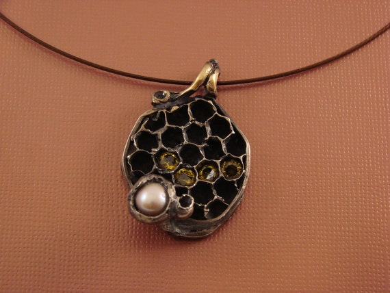 Bee honeycomb  solid sterling silver pendant