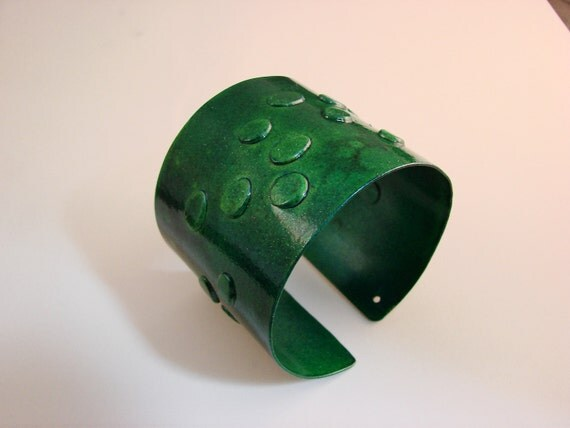 100  Rivet Green frogs  Aluminum Cuff Abstrac  one of a kind