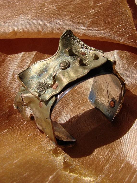 Bronze sculpture cuff bracelet  hand made in Canada