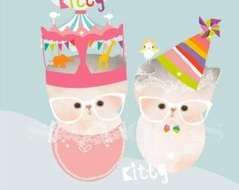 LARGE Nursery Cat Art Print Children Decor - 'Kitty Cuddles'