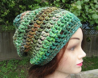 Organic Multicolor Crocheted Slouch Hat 43/11