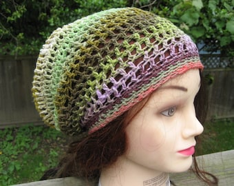 Organic Multicolor Crocheted Slouch Hat 45/11