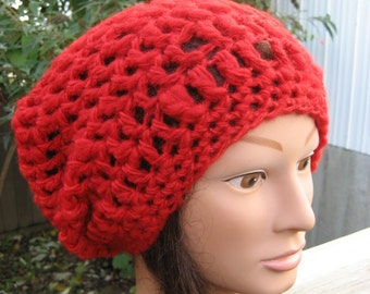 Handspun/Hand Dyed Red Crocheted Slouch Hat 79/11