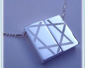 Star Of David-Jewish star necklace Wish-prayer Locket Engraved-Personalization Option-Israel