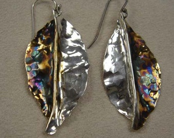 Sterling Silver leaves-leaf earrings-Oxidized-forged and hammered-handmade