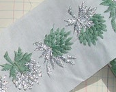Vintage Trim Embroidered Trim Thistle Green and Silver