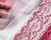 Vintage Lace Trim Pleated Chiffon with Lace