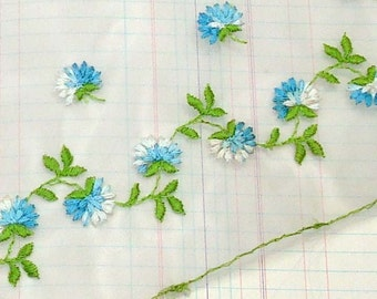 Vintage Trim Organza Trim with Embroidered Blue and White Flowers