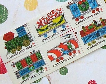 Vintage Christmas Seals Vintage Paper Ephemera 1967 Toy Train