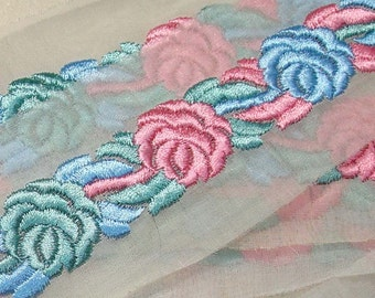 Vintage Trim Organza Trim Lush Embroidered Trim Pink Blue and Green