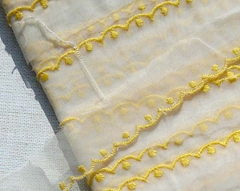 Vintage Lace Trim Organza Trim Yellow Polka Dot