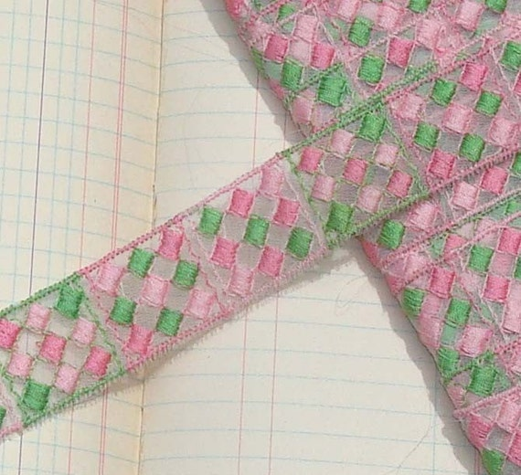 Vintage Trim Embroidered Trim Pink and Green Diamonds