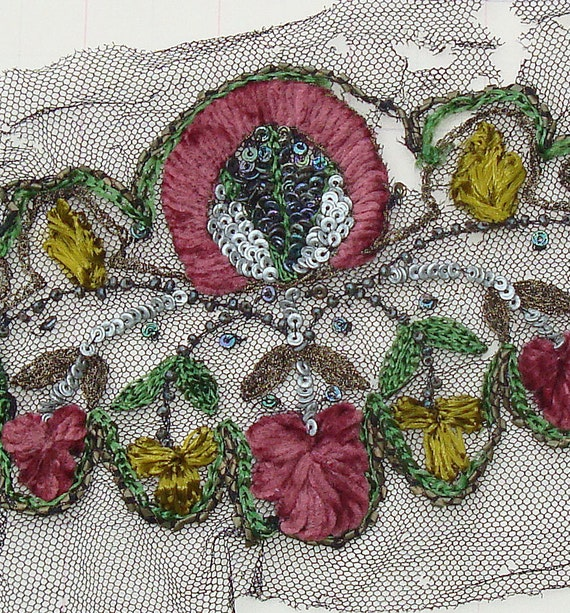 Antique Lace Sample French Lace Silk Chenille Metallic Embroidery