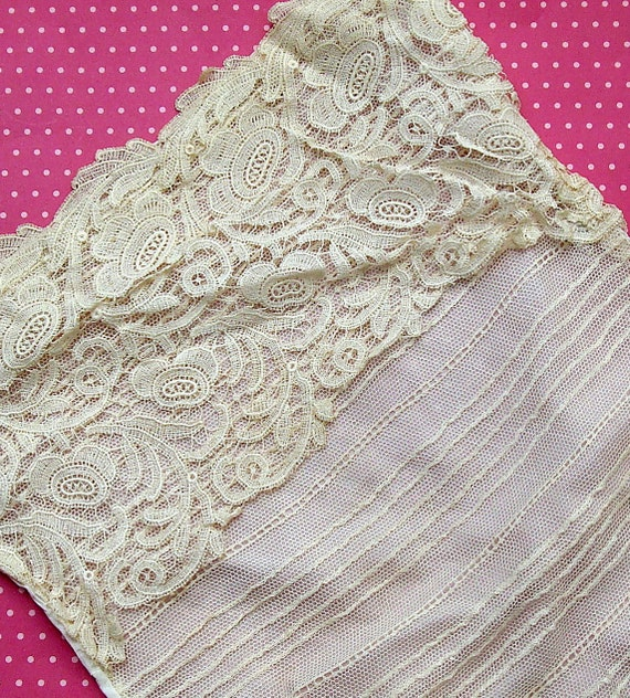 Antique Lace Vintage Lace Tulle Silk Modesty Bodice Insert