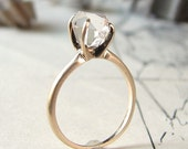rough herkimer solitaire ring - 14K yellow gold