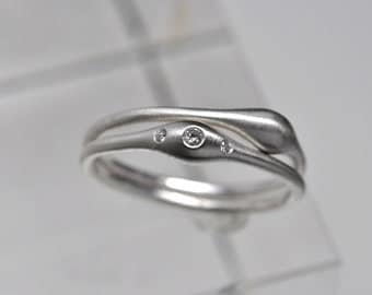 Wave ring pair - sterling silver & diamond rings