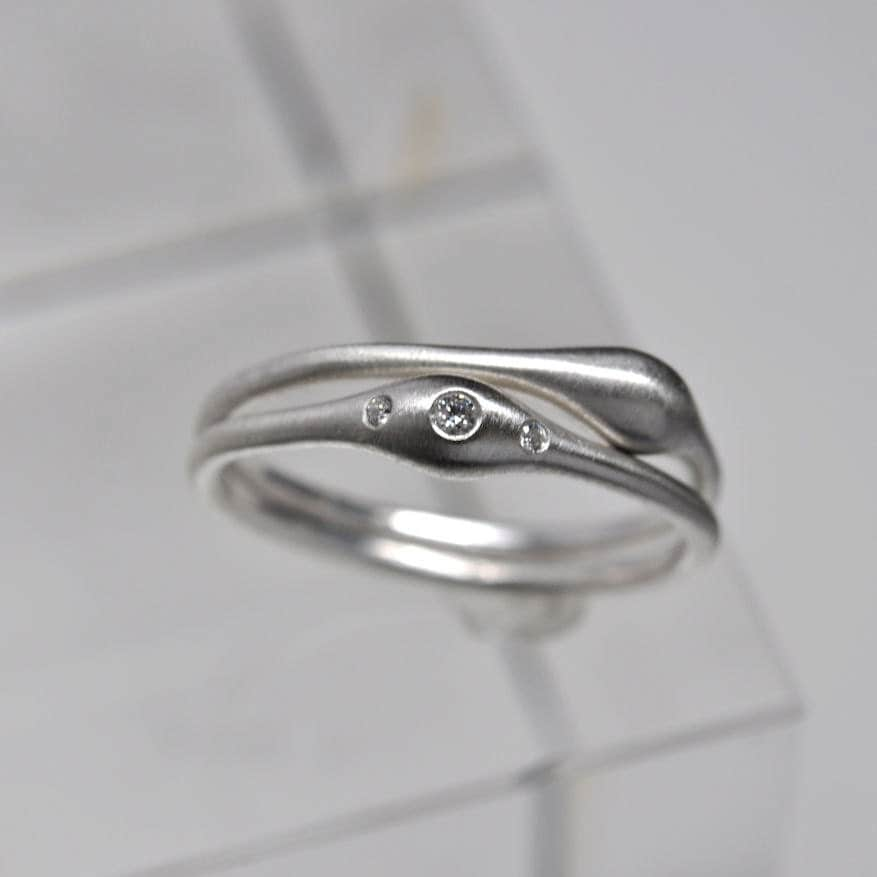wave ring pair sterling silver rings