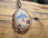 Raven Pendant- Wooden Necklace with Inlay Lapis Lazuli in reclaimed Sassafras Wood