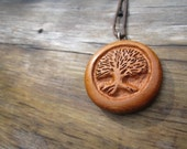 RESERVED Listing for Julie- Tree of Life Necklace- Wooden Necklace Carved in Yew