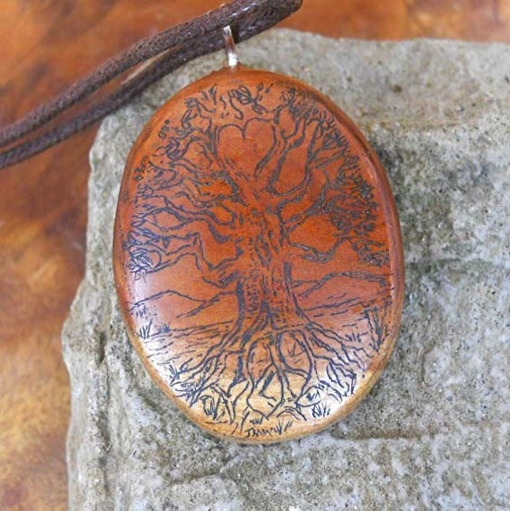 Tree of Life Peace and Love  Scrimshaw on Wood Necklace