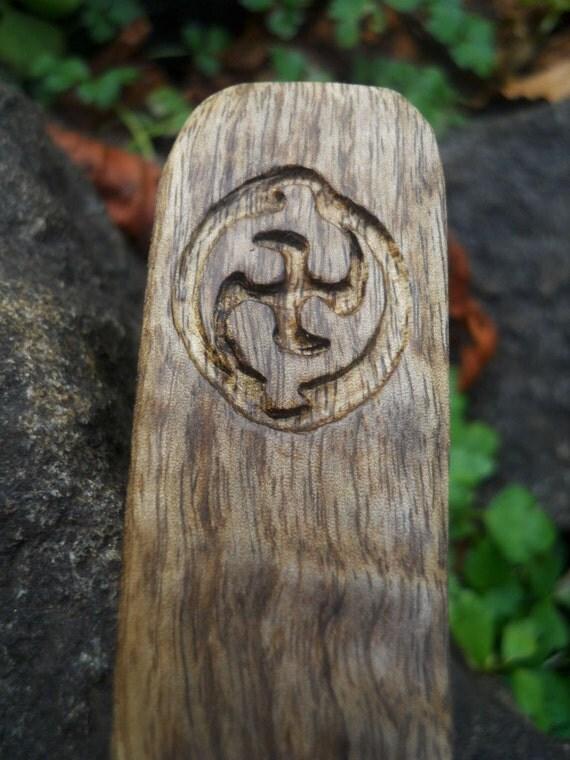 Carved Wood Bookmark- Unity Transformation carved in Oregon Myrtlewood