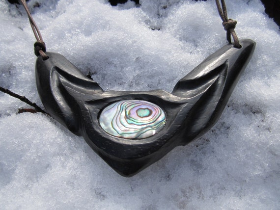 Ebony Abalone Necklace- Light in the Darkness- Carved Necklace in Reclaimed Ebony Wood