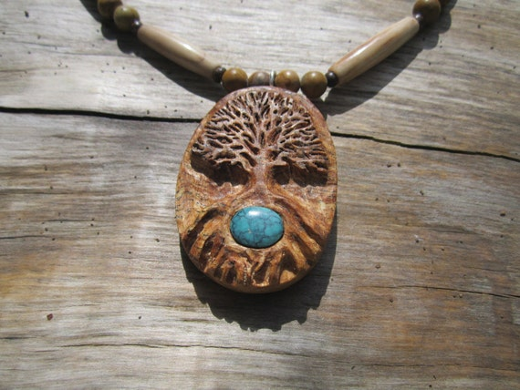 Turquoise Tree of Life Necklace- Carved Wooden Necklace in Reclaimed Maple- Wood Jewelry