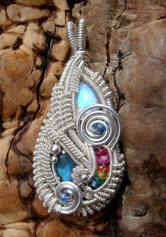SALE-Moonstone, Labradorite and Rainbow Gemstone Wire Wrapped Pendant