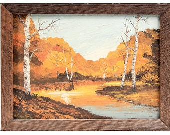 Vintage Original Fall Landscape Painting with Wood Frame