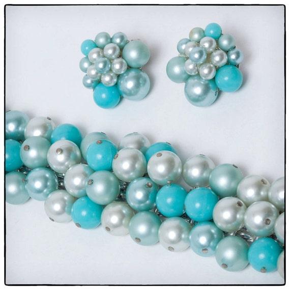 Vintage 60's Blue Beaded Cluster Bracelet and Matching Cip-on Earrings, faux pearl, silver tone, vestiesteam