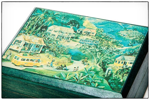 Vintage Annabella Wood Jamaica Box- With Rural Jamaican Scene 'Island Memories' painted by Eve Foster