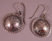 Leaf Etched Sterling Earrings, Round