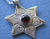 Silver Jewish Star with hearts and Garnet Necklace