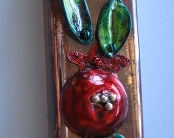 Pomegranate with 4 Leaves Mezuzah