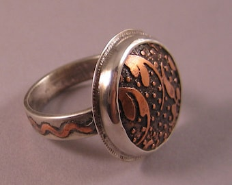 Etched Copper and Silver Ring