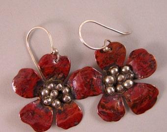Copper and Silver Flower Earrings