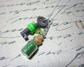 Garden Fairy- Green Glass Winged Lampwork Bead-Skeleton Key Necklace with Fairy Glitter Powder - Vintage Antique Skeleton Key Jewelry