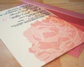 SAMPLE Lacy Peony Blossom Wedding Invitations