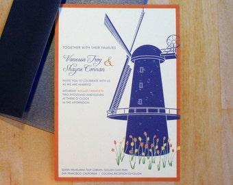 Sample: Windmill in the Tulips Wedding Invitation