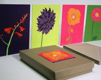 Recycled Greeting Card Set of 12, Flowers in Bright Colors
