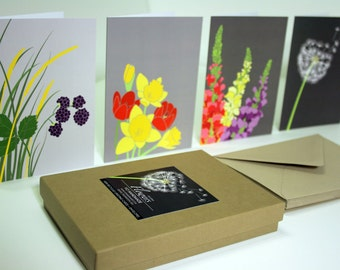 Recycled Greeting Card Set of 12, Flowers on Gray