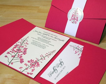 NEW SAMPLE: Two Wildflowers Pocketfold Wedding Invitation, Customizable Colors, Pink, White
